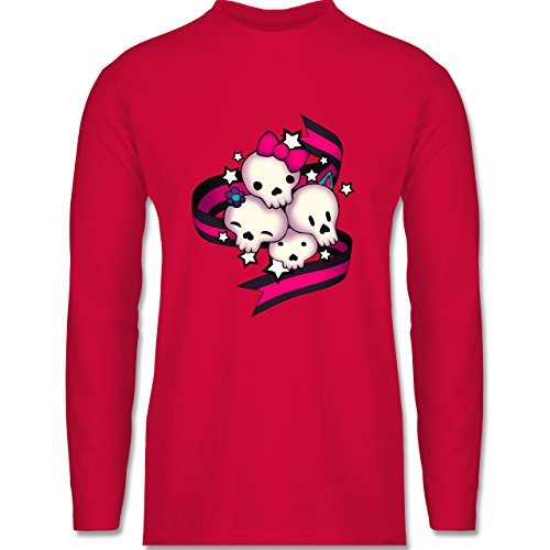 Statement Shirts - Cute Skulls - Longsleeve / langärmeliges T-Shirt für Herren Rot