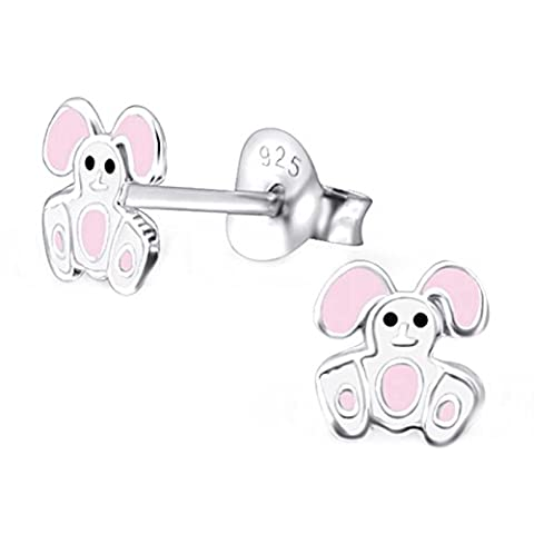 sl-collection Boucles d'oreilles Boucles d'oreilles en tissu pour enfant Lapin Argent 925