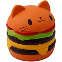 Chinget Cute Slow Rising Toy Cat Hamburger Design Stress Relief Toy Decompression Toys