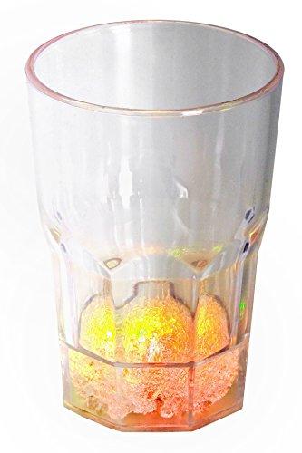 LED-Highlights Glas Becher Cocktailglas 400 ml LED Farbwechsel bunt Rgb mit Batterie wechselbar Bar Kunststoff Trinkglas Innen Aussen
