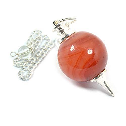 Reiki Crystal Products Carnelian Dowser Ball Chain Pendulum, Crystal  Dowser, for Reiki Healing Crystal Stone- Dowsing