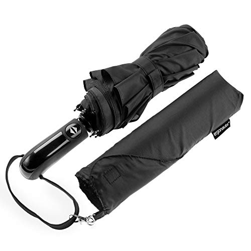 Ergonomad Windproof Vented Double Canopy Travel Umbrella - Teflon Coating, Ergonomic Handle & Protective Travel Sleeve - Portable Compact Foldable Lightweight Design and High Wind Resistance