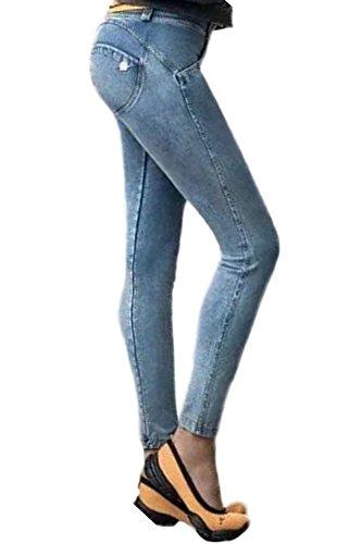 Le Donne Pieno Tempo Bassa Vita Jeans Attillati Lblue