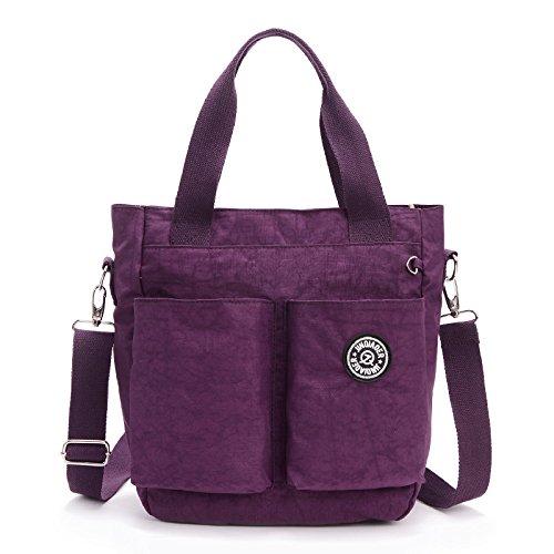 SODIAL Nouvelle arrivee sac de messager de bandouliere en nylon mode decontractee impermeable (violet)