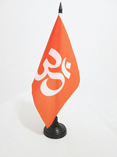TISCHFLAGGE HINDUISMUS 21x14cm - HINDU TISCHFAHNE 14 x 21 cm - flaggen AZ FLAG