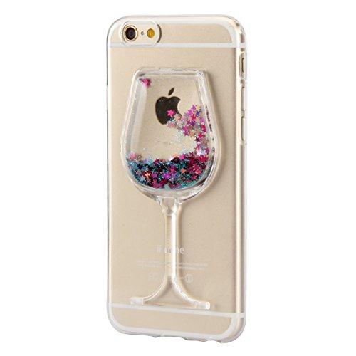 """iPhone 6s Handyhülle, iPhone 6 Liquid TPU Case, CLTPY Kreativ 3D Fließen Flüssig Bling Schwimmend Treibsand Herz, Glanz Shiny Kristallklar Schale Etui für 4.7"""" Apple iPhone 6/6s + 1 x Stift - Dunkelro Blauer Stern"""
