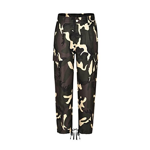 Huihong Womens Casual Camouflage Hose Baggy Hip Hop Rock Hose Tanz Cargo Jogger Sweat Pants Hose KüHle Straße Hose S-5XL (Gelb, 2XL)