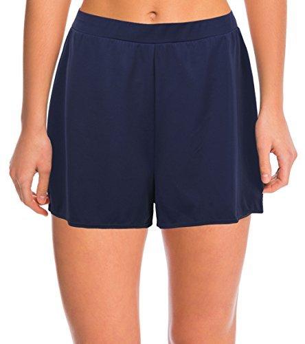 Septangle Damen Einfarbig Schwimmshorts Große Größen Strand Shorts Bikinihose, Marine Blau Gr.- EU 46/US 14 (Marine-blau-shorts)