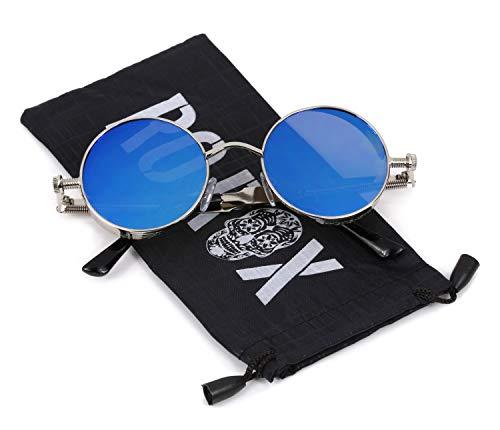 Ro Rox Damen Herren Steampunk Retro Runde Sonnenbrille - Blau - Silber