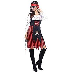 Disfraz de Halloween para mujer de pirata caribeña, disfraz para disfraz de Halloween, carnaval o fiesta temática