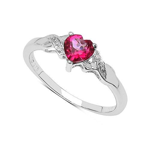 Sammlung von Rosa Topas Ring: 9ct white gold Herz Topas mit rosa Diamant in den Schultern Verlobungsring, Ringgröße 50 (15.9)