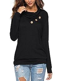 KISSMODA Damen T-Shirt Langarm-Sweatshirt Einfarbig Beiläufig Blusen Tunika Tops