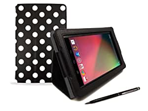 Google Nexus 7 Tablet Case – Black & White Polka Dot Print PropUp Stand Case Cover (with integrated stand function and magnetic sleep sensors) & BONUS: G-HUB ProPen Stylus
