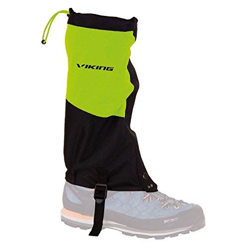 Viking Gamaschen Damen und Herren wasserdicht Schneeschutz Regenschutz - ideal für Outdoor und Trekking, sehr robust - 4729, 73 schwarz/grün, S/M