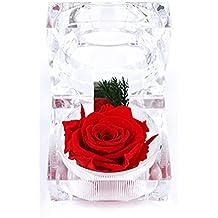A-SZCXTOP - Caja de cristal para guardar anillos con una flor fresca conservada no