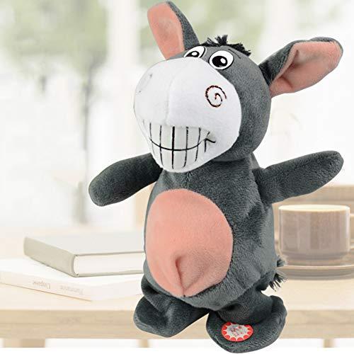 VIWIV Plüschspielzeug Kann Sprechen Um Zu Fuß Der Kleine Esel Elektrische Kinderspielzeug Aufnahme Musik Zunge Singen Tanzspiel Funktion