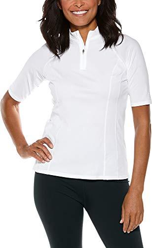 Coolibar Damen kurzärmlig Badeshirt, Weiß, 38/S (Shirt Schwimmen Coolibar)