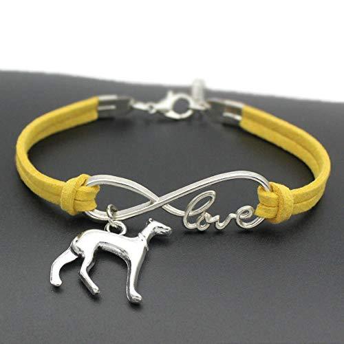 KXTHUT Collare Regolabile Infinity Love Greyhound Charms Bracciali Whippet Dog Gioielli per Uomo Donna Bracciale in Pelle Regalo Amicizia, 7
