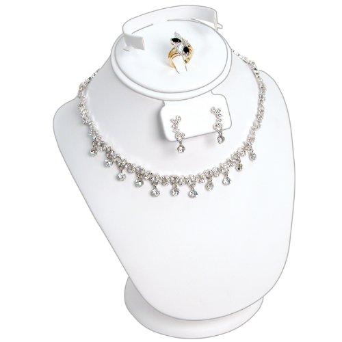 COMBO Brustumfang II weiß (für (1) Paar Ohrringe, (1) Ring, (1) Halskette und (1) Armband, Maßnahmen 17,8x 15,2cm X 91/20,3cm hoch) (Halskette-ohrring-combo)