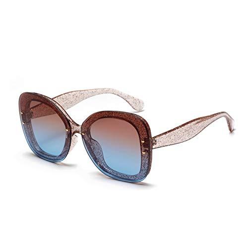 YHMC Big Box Transparente Glitzer Sonnenbrille Damen Exquisite Sonnenbrille Beliebte Brille Progressive Tea Blue