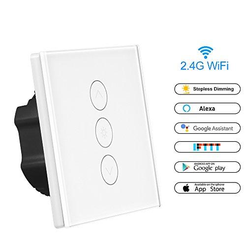 Smart Dimmer Schalter WLAN Berühren Stufenlos Mauer Lichtschalter Arbeit mit Alexa / Google Home / IFTTT 1 Gang APP Fernbedienung, Timing-Funktion, Überlastschutz AC 100-240V Maximum 400W für Android iOS (Neutralleitung Erforderlich) (1 Pack) (Smart Dimmer)
