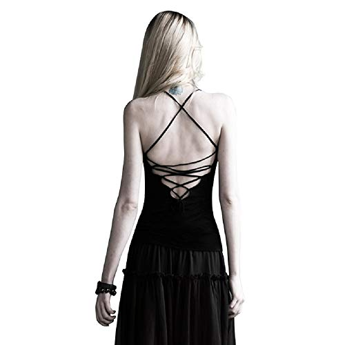 Damen Top mit Rückenschnürung von Punk Rave T-296 Gothic Halloween Rock-Star sexy Party-Oberteil rückenfrei, Schwarz, XS-M