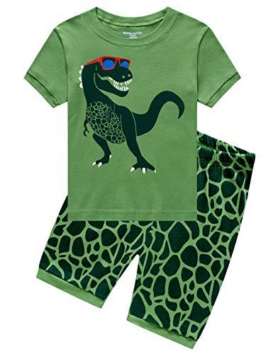 Dinosaurier-nachtwäsche (Little Hand Schlafanzug Jungen Dinosaurier Bagger Motorrad Flugzeug Kinder Sommer Zweiteiliger Baumwolle Kurz Nachtwäsche, Dinosaurier, 98 (HerstellerGröße: 100))