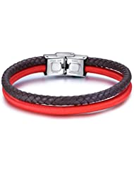 Luca Barra Herren Armband aus Leder und Stoff in rot. Italienischer Schmuck. BA807