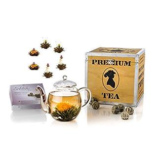 Creano-Teeblumen-Mix-Geschenkset-ErblhTee-mit-Glaskanne-in-edler-Holz-Dekobox-6-verschiedene-Teerosen-in-3-Sorten-Schwarzer-Tee