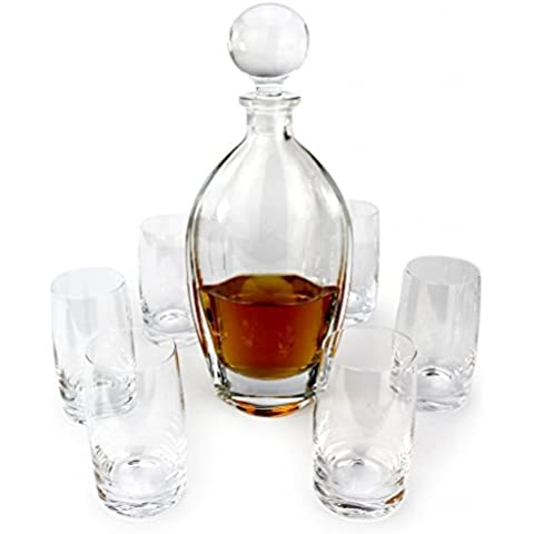 A.P. Donovan - Whisky Gift Set - decanter 700ml - (lavastoviglie senza piombo) costituito da un decanter con 6 bicchieri da whisky - Opulus