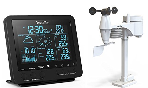 Youshiko Weather Station ( Premium Quality / Large LCD HD Colour Changing Display ) , Radio Control Clock ( Official UK Version ) and Professional 5-in-1 Wireless Sensor ( Wind speed & direction, Rainfall, Temperature & Humidity )