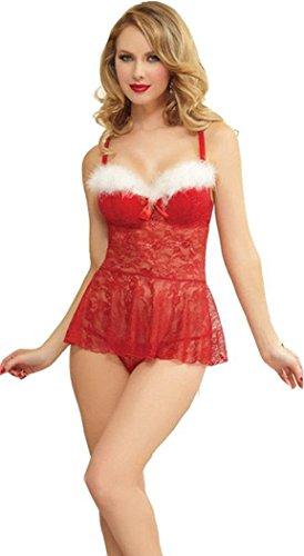 KamX New Sexy Women\'s Lingerie Lace Nightwear Underwear Red Babydoll Christmas costume(Free Size)