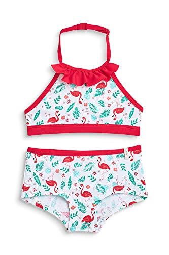 ESPRIT Mädchen Flamingo Beach MG neckh + Hotpant Badebekleidungsset, Weiß (White 100), 140 (Herstellergröße: 140/146)