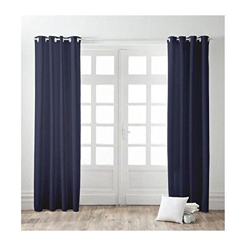 FINLANDEK Lot de 2 rideaux a oeillets 100% coton Kauha 140x240 cm ciel d'orage