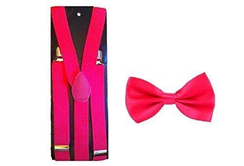 Strapshalter Hosenträger & Gebundene Fliege Kombination Sets Kostüm - Hot Pink, One size (Hot Herren Kostüme)
