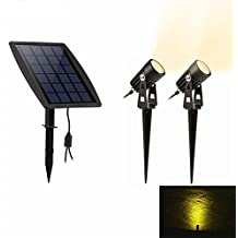 Keynice Luz Solar / Foco LED Impermeable IP65 Powered Proyector con 2 Cálidas Luces Blancas para Exterior /Jardín / Patio / Césped -Negro