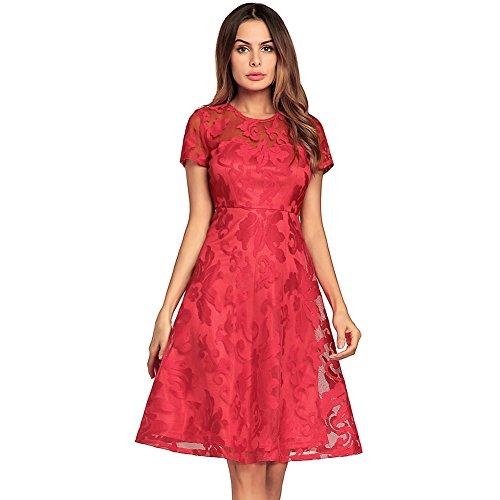 J.R.S Women Elegant A Line Round Neck Short Sleeve Pleated Lace Sheath Slim Dress