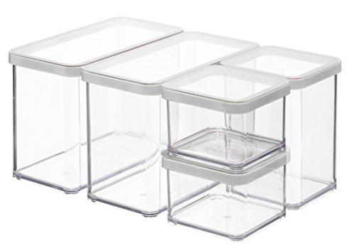 Rotho Premium Loft 5er Set Vorratsdosen , Kunststoff (BPA-frei), transparent/weiss, verschiedene Größen -