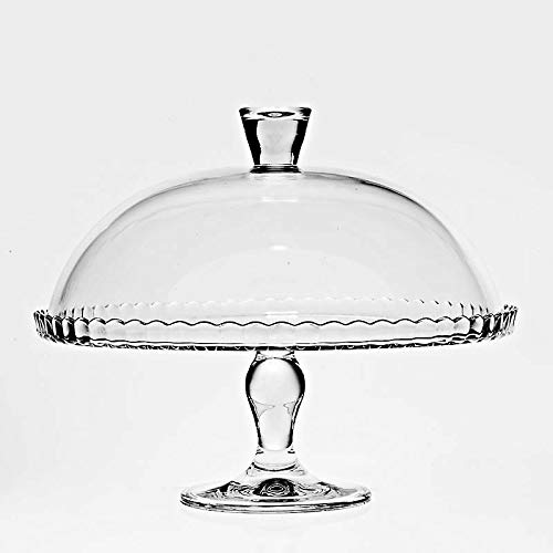 Tortenplatte auf Fuß Tortenteller Kuchenplatte mit Haube Bianca Transparent D 32 cm Hochwertiges Glas Moderner Zeitloser Style