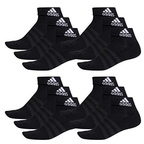 adidas 12 Paar Performance Sneaker/Quarter Socken Gr. 35-54 Unisex Kurzsocke, Farbe:Black, Socken & Strümpfe:46-48 -