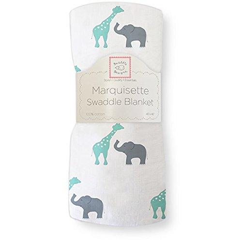 SwaddleDesigns Pucktuch aus Marquisette, Premium Baumwollmusselin, Spaß auf der Safari, Meerkristall