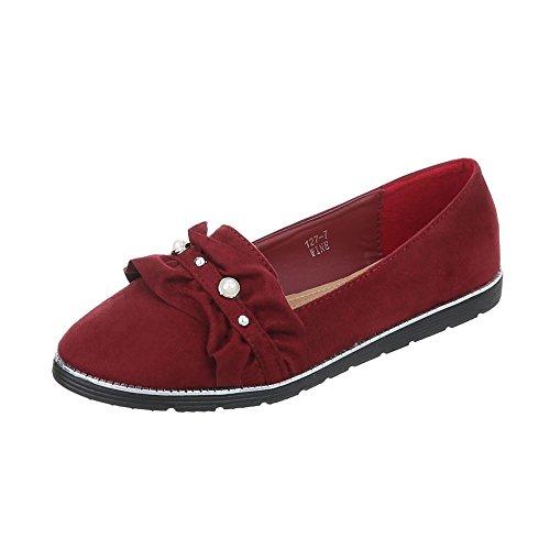Ital Pantofole Scarpe design Donna Appartamento Mocassini 127 Da 7 Bourgogne rxvrwqOBa