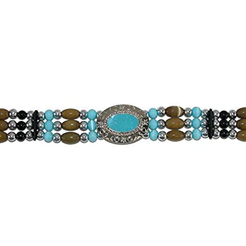 CTM Beads and Various Accents Hat Band with Ties, Teal with Wood Beads