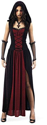 Mascarada MA171 Gr. L - Neugothische Lady Kostüm, Größe L, rot/schwarz (Rot Und Schwarz Kleid Kostüm)