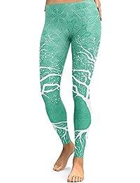 MEIbax Leggings Deportes Pantalones para mujeres de Planta y Rama Estampado de las entrenamiento Gimnasio de Fitness Gym Yoga de Cintura Alta Skinny Casual Mallas elásticas para Mujer