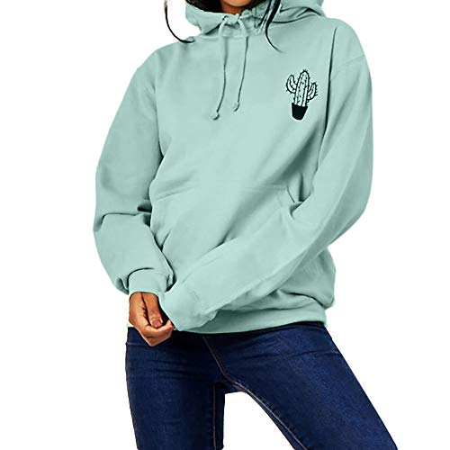 OSYARD Damen Vorne Hinten Briefdruck Kapuzenpullover Kordelzug Sweatshirt, Frauen Herbst Langarm Winter Kapuzen-Druck Brief T-Shirt Bluse Pullover Tops (M, Grün)