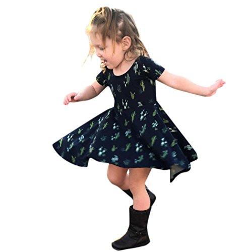 squarex Kleid, Mom & Me Kurzen Ärmeln Kaktus Print Kinder Kleid Familie Passende Kleidung, Kinder, Dark Blue (for Kids), 2-3 ()
