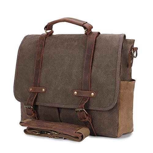 c1ebb983dc Ventiquattrore ufficio Borsa tracolla porta pc Vera pelle e Tela rinforzata  Vintage per laptop 15.6 pollici