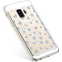 Uposao Handyhülle Samsung Galaxy S9 Schutzhülle Transparent Silikon Schutzhülle Handytasche Crystal Clear Durchsichtige Hülle TPU Cover Weich TPU Bumper Case,Blau Schneeflocken