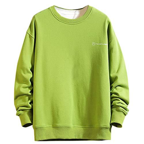 LILICAT_Winter Herren Langarmshirts Freizeit Crew Neck T-Shirts Tops Mode Drucken Langarm Pullover Vintage Lose Sweatshirts Winterpullover Longshirts Sportswear Tunika Bluse -